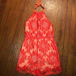 Aqua Orange Lace Romper